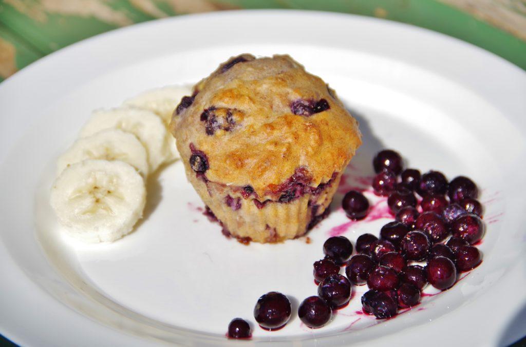 Bananenmuffins Heidelbeermuffins vegan zuckerfrei