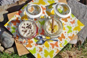 Milchreis mit Roter Grütze und Apfelkompott