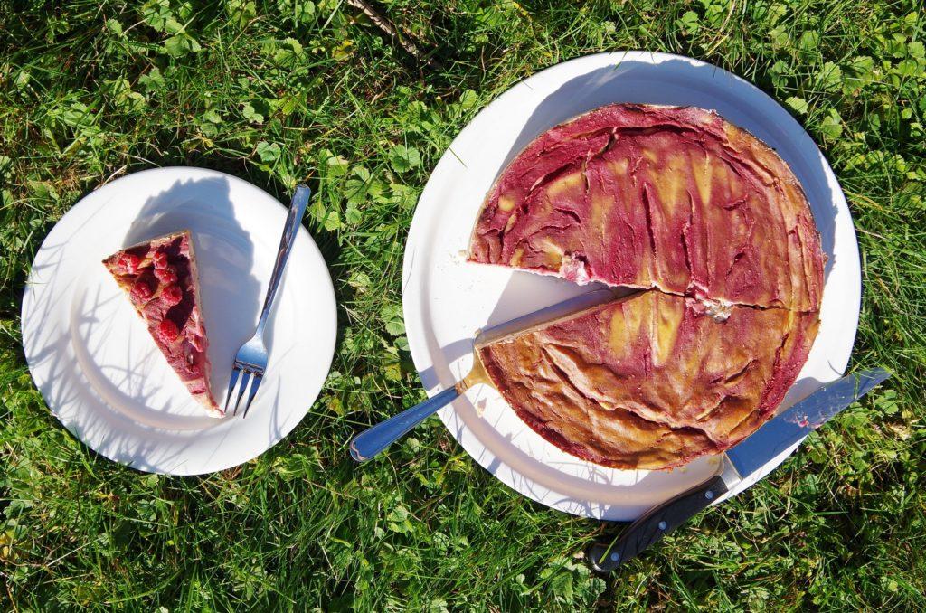Himbeer-Käse-Kuchen ohne Zucker vegan