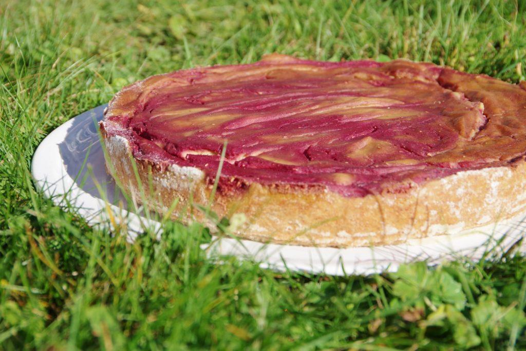veganer Himbeer-Käse-Kuchen ohne Zucker