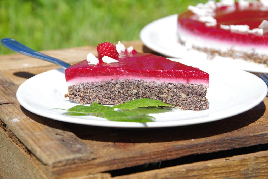 Mohn-Kokos-Himbeer-Torte