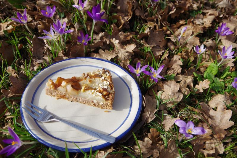 Birnen Walnuss Kuchen ohne Zucker vegan